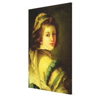 Retrato de una página, 1762-70 (aceite en lona) impresión en lona estirada