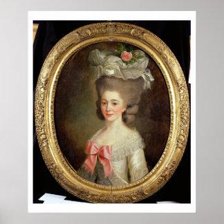 Retrato de una señora (aceite en lona) póster