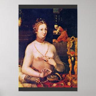 Retrato de una señora At Her Toilette, por Meister Impresiones