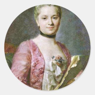 Retrato de una señora By Maurice Quentin de La Pegatina Redonda