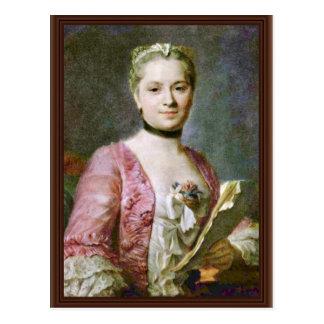Retrato de una señora By Maurice Quentin de La Tou Postales
