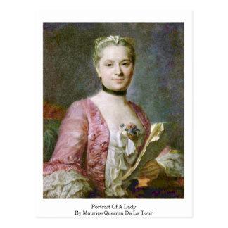 Retrato de una señora By Maurice Quentin de La Tou Tarjeta Postal