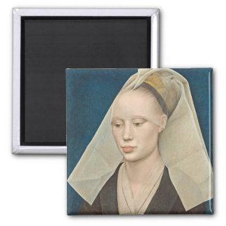 Retrato de una señora, c.1460 (aceite en el panel) imán cuadrado