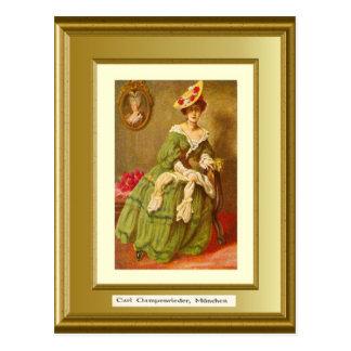 Retrato de una señora, Carl Gampenrieder, Munchen Tarjetas Postales