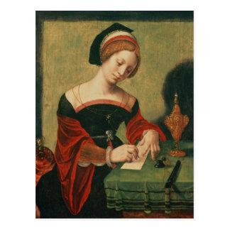 Retrato de una señora como el Magdalen Postal