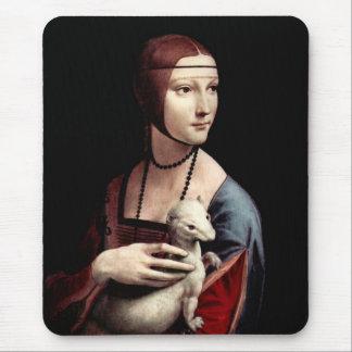 Retrato de una señora con el armiño (un hurón) alfombrillas de ratones