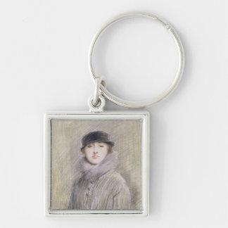Retrato de una señora con un cuello y un manguito  llavero cuadrado plateado
