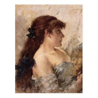 Retrato de una señora con una fan de James Tissot Tarjetas Postales