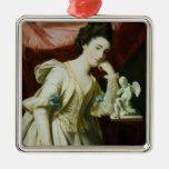 Retrato de una señora con una figurilla del Cupid Adorno Navideño Cuadrado De Metal