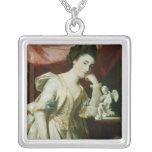 Retrato de una señora con una figurilla del Cupid Colgante Cuadrado
