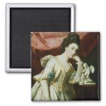 Retrato de una señora con una figurilla del Cupid Imán Para Frigorifico