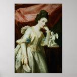 Retrato de una señora con una figurilla del Cupid Posters
