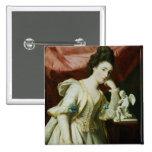 Retrato de una señora con una figurilla del Cupid Pin Cuadrado