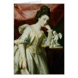 Retrato de una señora con una figurilla del Cupid Felicitacion