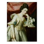 Retrato de una señora con una figurilla del Cupid Tarjetas Postales