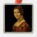 Retrato de una señora de la corte de Milano Adorno Navideño Cuadrado De Metal