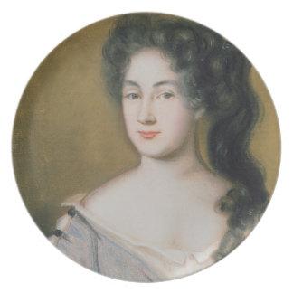 Retrato de una señora (en colores pastel en el pap platos