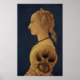 Retrato de una señora en el amarillo, c.1465 póster