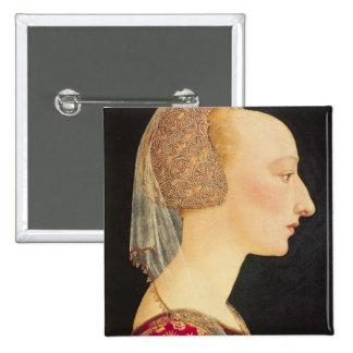 Retrato de una señora en el rojo, 1460-70 pin cuadrado