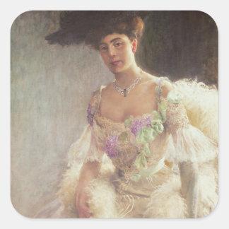 Retrato de una señora en el vestido de noche, 1903 calcomanía cuadrada