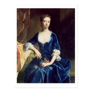 Retrato de una señora en un vestido azul del tarjeta postal