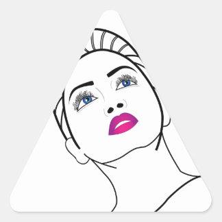 Retrato de una señora hermosa en lápiz labial pegatina triangular