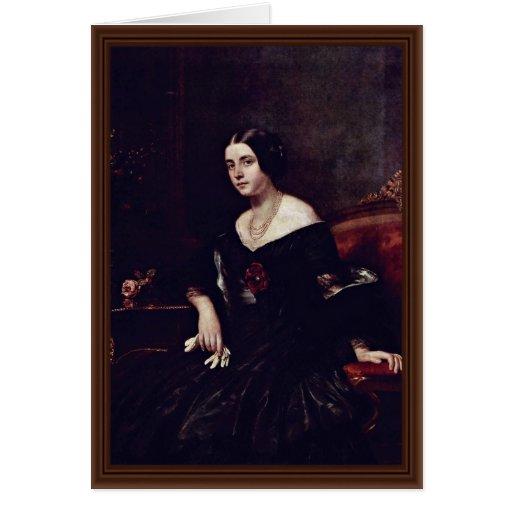 Retrato de una señora In A Black Dress Tarjeta De Felicitación