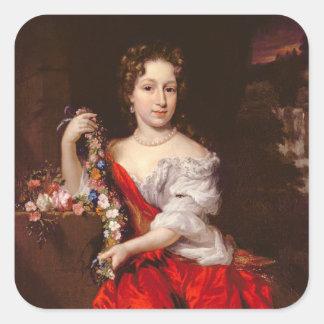 Retrato de una señora joven (aceite en lona) pegatina cuadrada