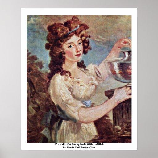 Retrato de una señora joven con el Goldfish Póster