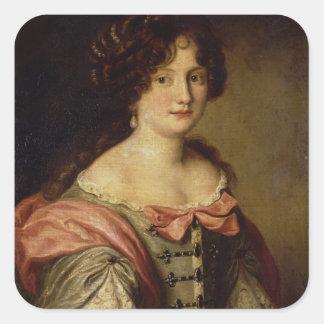 Retrato de una señora joven pegatina cuadrada