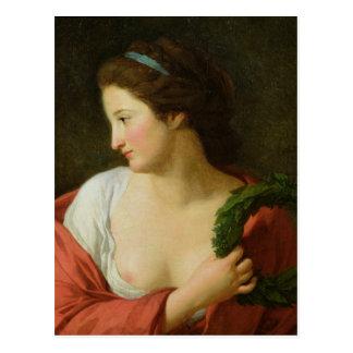 Retrato de una señora joven postal