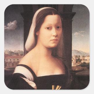 """Retrato de una señora (""""La Monaca"""") Pegatina Cuadrada"""