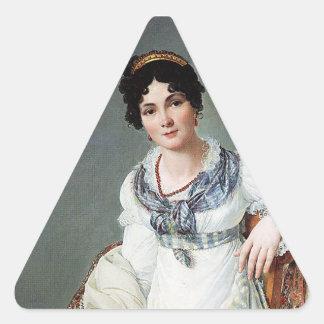 Retrato de una señora calcomanías trianguladas personalizadas