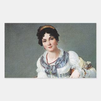 Retrato de una señora pegatina rectangular