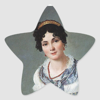 Retrato de una señora calcomanías forma de estrellaes personalizadas