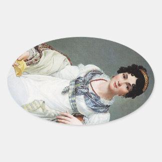 Retrato de una señora pegatina ovalada
