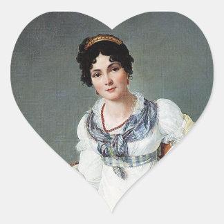 Retrato de una señora calcomanías de corazones