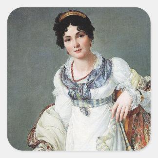 Retrato de una señora calcomania cuadrada personalizada