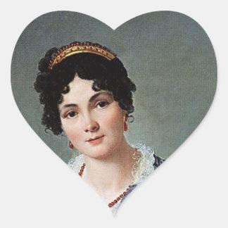 Retrato de una señora pegatina en forma de corazón