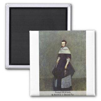 Retrato de una señora por Borch D.J. Gerard Ter Imán Cuadrado