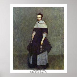 Retrato de una señora por Borch D.J. Gerard Ter Poster