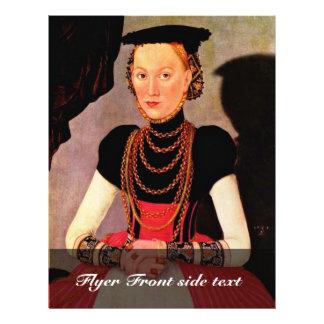 Retrato de una señora por Cranach D.J. Lucas (el m Tarjetón
