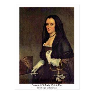 Retrato de una señora With A Fan By Diego Velázque Tarjeta Postal