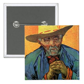 Retrato de Van Gogh del arte del vintage de Pin Cuadrado