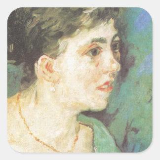 retrato de Van Gogh el | de la mujer en el azul el Pegatina Cuadrada