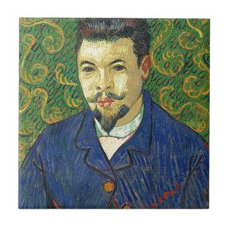 Retrato de Van Gogh el | del Dr. Félix Rey el | Azulejo Cuadrado Pequeño