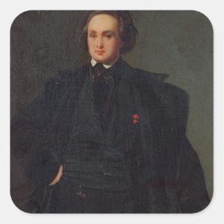 Retrato de Victor Hugo, c.1833 Pegatinas Cuadradas