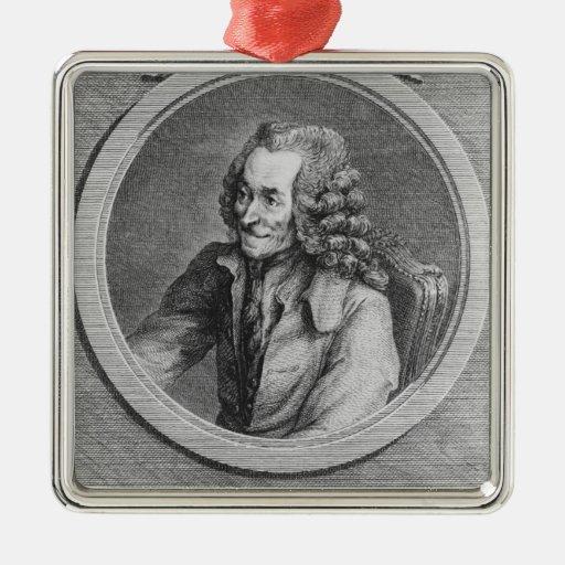 Retrato de Voltaire, de un dibujo Adorno Navideño Cuadrado De Metal