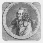 Retrato de Voltaire, de un dibujo Pegatina Cuadrada