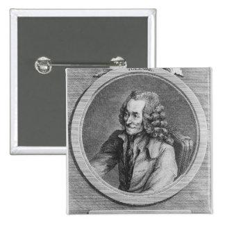 Retrato de Voltaire, de un dibujo Pin Cuadrada 5 Cm
